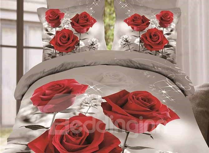 Beautiful Three Red Roses Printing 4-Piece Duvet Cover Sets