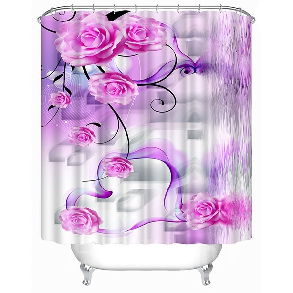 Cirrus and Roses Print 3D Shower Curtain