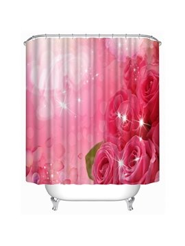Beautiful Pink Roses Print 3D Shower Curtain