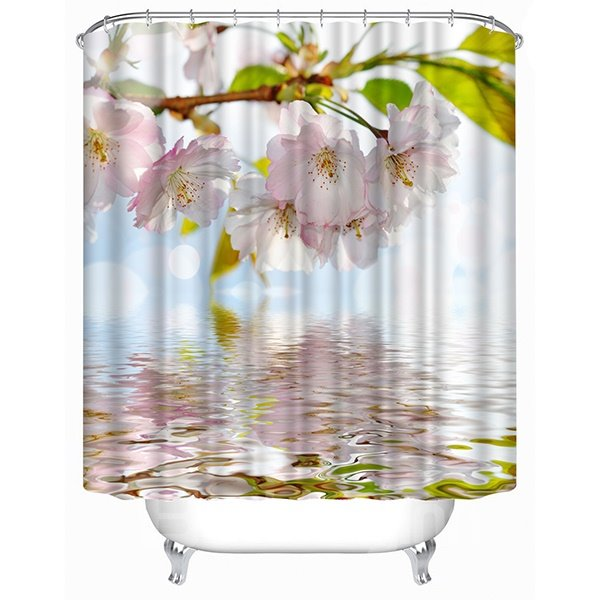 Beautiful Pink Blooming Peach Print 3D Shower Curtain