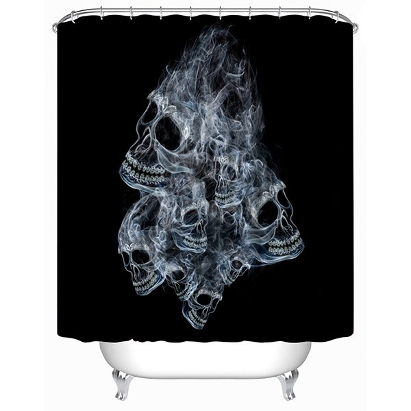 3D Skull Formed by Smoke Printed Polyester Black Shower Curtain