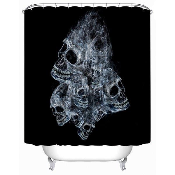 Unique Design Fumy Skull Print 3D Shower Curtain