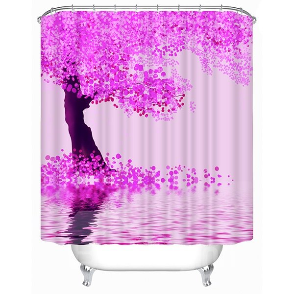 Sea of Pink Flowers Print 3D Shower Curtain