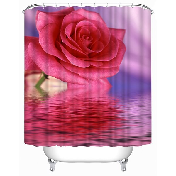 Beautiful Pink Rose over the Water Print 3D Shower Curtain