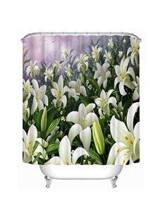 Pretty White Lilies Print 3D Shower Curtain
