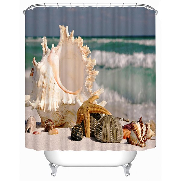 3D Shellfish on the Beach Printed Polyester Shower Curtain