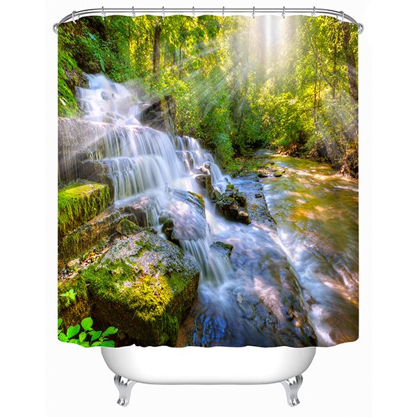 The Waterfall Under the Sun Print 3D Shower Curtain