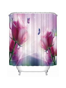 Two Rosa Champagne with Butterfly Print 3D Shower Curtain