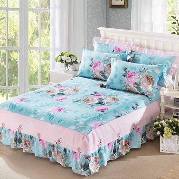 Korean Style Peonies Printing Blue 3-Piece Bed Skirt Set