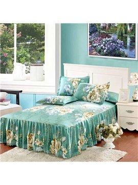 Gorgeous Peonies Printing 3-Piece Blue Bed Skirt Set