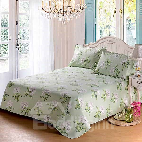 Graceful White Flowers Printed Green Cotton Sheet