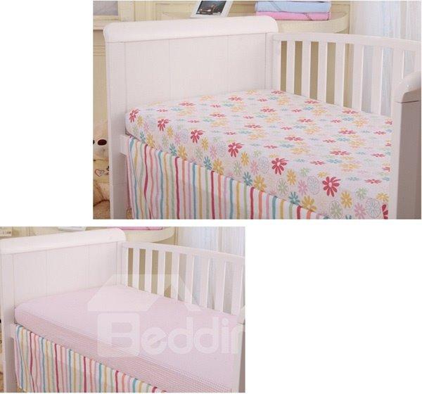 Lovely Pink Flower Pattern 4-Piece 100% Cotton Baby Crib Bedding Set