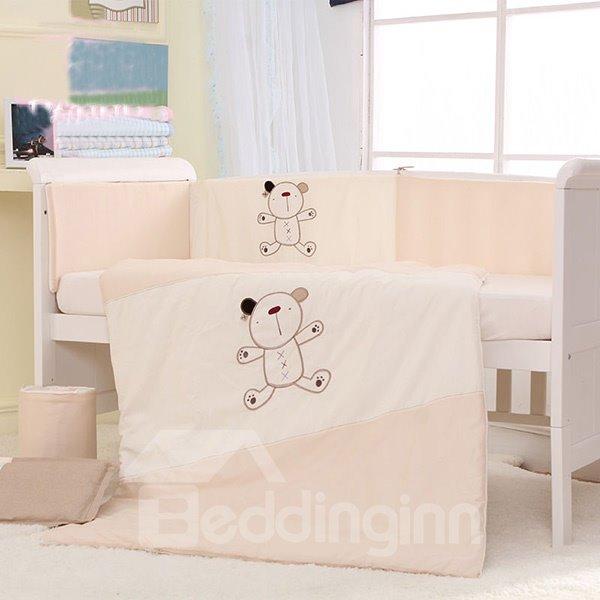 Super Cute Bear Print 7-Piece Cotton Baby Crib Bedding Set