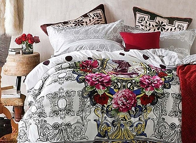 Luxury Colourful Flowers 4-Piece Duvet Cover Sets