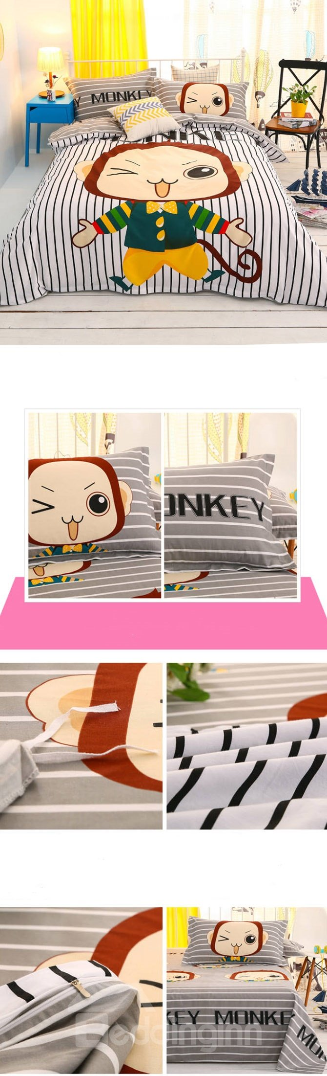 Lovely Cute Monkey 4-Piece Duvet Cover Sets