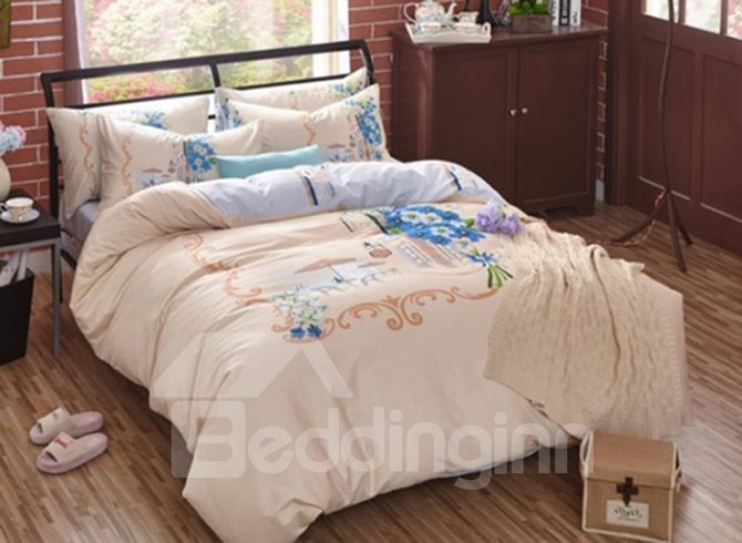 Plain Beautiful Flower Printing 4-Piece Duvet Cover Sets