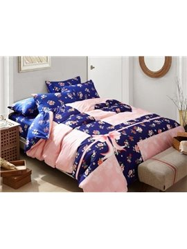 Plain Pink Flowers 4-Piece Duvet Cover Sets