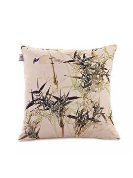 A Sparrrow Playing Between Bamboo Paint Throw Pillow Case