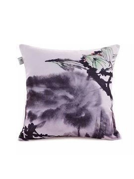 Chinese Ink Bursting Lotus Paint Throw Pillow Case