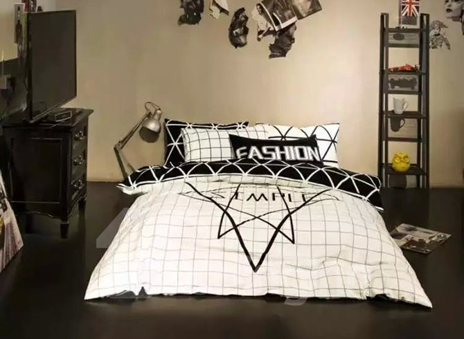 Modern White and Black Geometric Printing 4-Piece Duvet Cover Sets