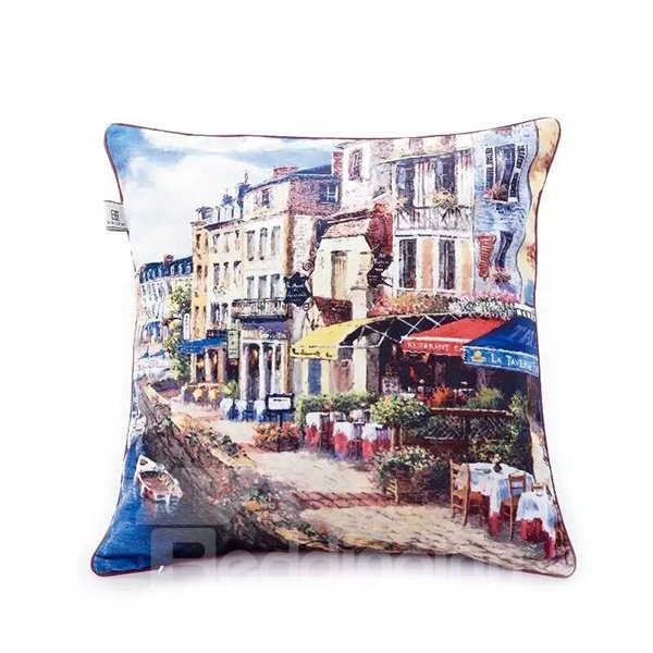 Norwegian Streetscape Paint Throw Pillow Case