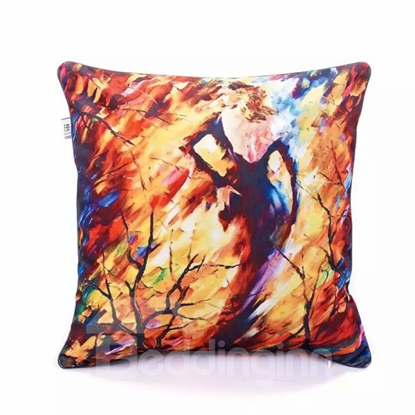 Creative Woman behind the Tree Oil Painting Pattern Throw Pillow Case