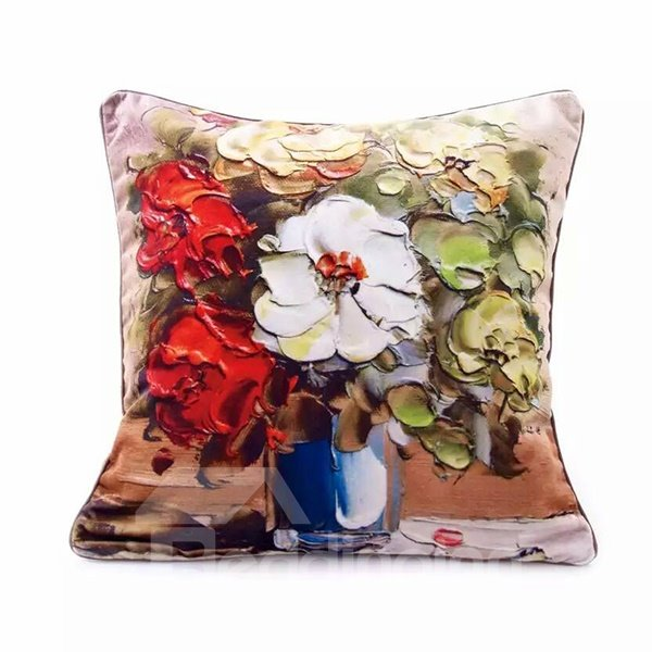 3D Gorgeous Colored Flowers in the Vaes Oil Painting Pattern Throw Pillow Case