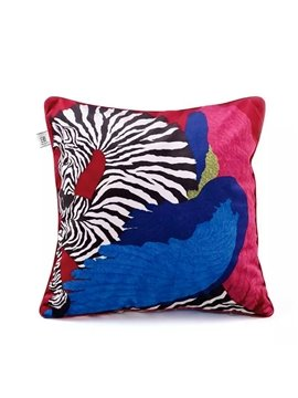 Special Design Zebra with Blue Wings Paint Throw Pillow Case