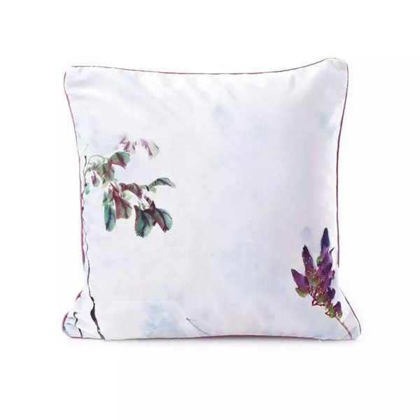 Concise Purple Flowers and Green Leaves Paint Throw Pillow Case