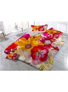 Superb Satin Drill Floral Digital Printing 4-Piece Duvet Cover Sets