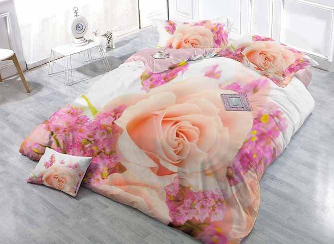 Romantic 3D Rose Digital Printing Classy Satin Drill 4-Piece Duvet Cover Sets