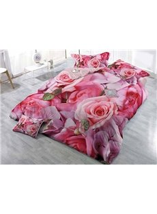 Pink Blooming Roses Printing Satin Drill 4 Pieces Duvet Cover Sets