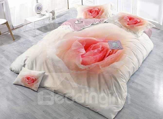 Romantic 3D Flowers Digital Printing Luxury Satin Drill 4-Piece Duvet Cover Sets