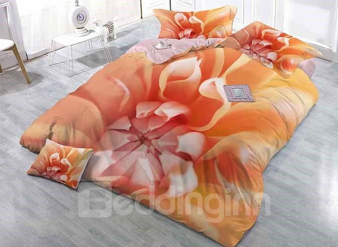 Muted Apricot Colored Flower Printing Satin Drill 4-Piece Duvet Cover Sets