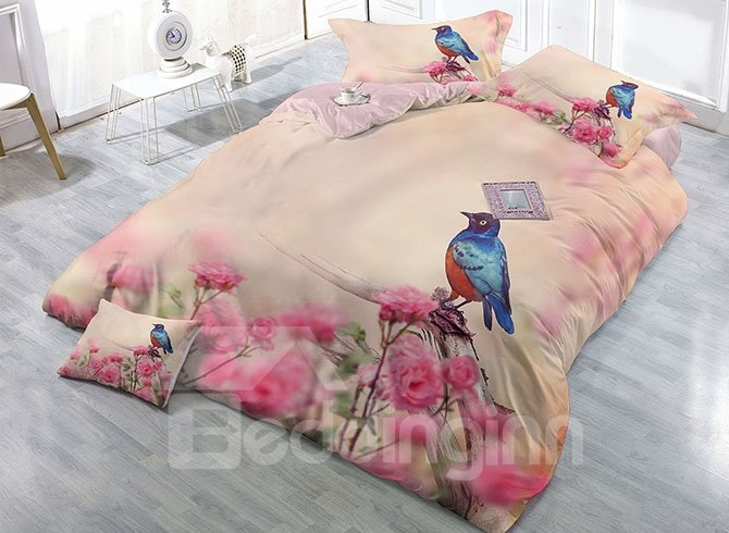 Pastoral Bird and Pink Flowers Printing Satin Drill 4-Piece Duvet Cover Sets