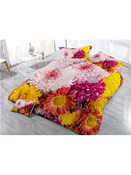 Colorful 3D Daisies Digital Printing Satin Drill 4-Piece Duvet Cover Sets