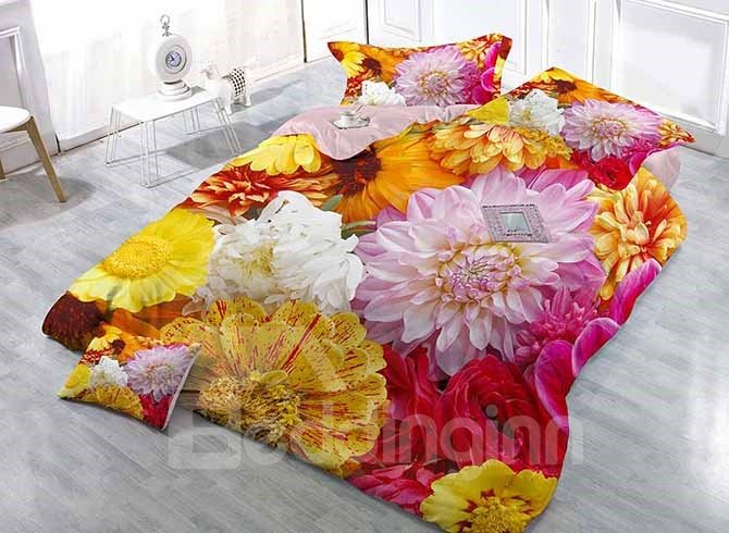 Magnificent 3D Floral Digital Printing 4 Pieces Satin Drill Duvet Cover Sets