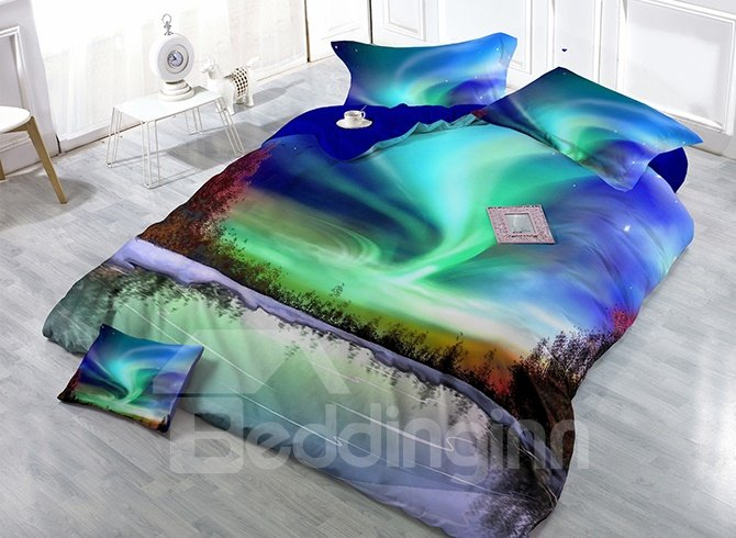 Amazing Aurora Scenery Digital Printing High Density Satin Drill 4-Piece Duvet Cover Sets