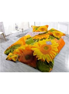 Bright Sunflowers High-Definition Digital Printing Satin Drill 4-Piece Duvet Cover Sets