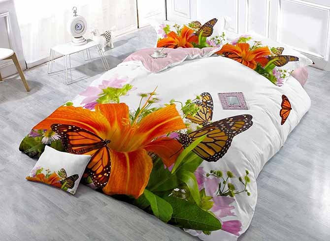 Orange Lily and Butterfly Digital Printing 4-Piece Duvet Cover Sets