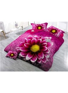 Lifelike Rosy Daisy Digital Printing Classy Satin Drill 4-Piece Duvet Cover Sets