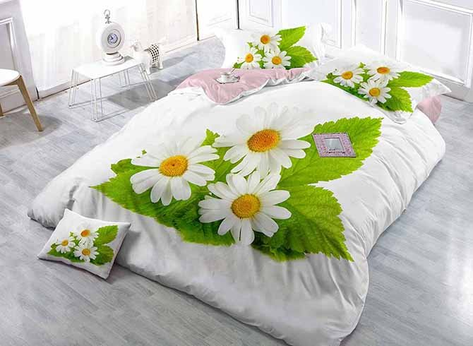 Graceful White Daisies Digital Printing Satin Drill 4-Piece Duvet Cover Sets