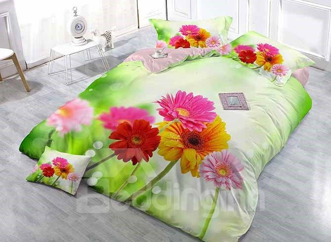 Fresh Colorful Daisies Luxury Satin Drill 4-Piece Duvet Cover Sets