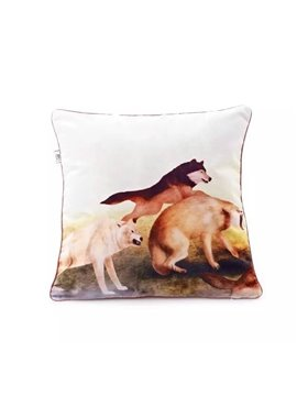Chic Running Wolves Paint Throw Pillow Case
