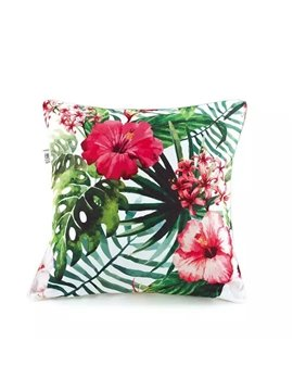 Decorative Red Rhododendron and Green Leaves Paint Throw Pillow Case