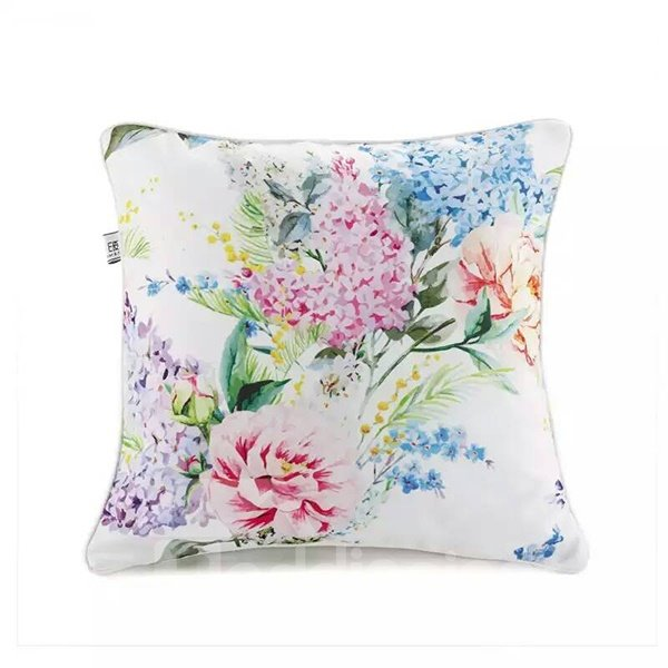 Pastoral Style Various Flowers Paint Throw Pillow Case