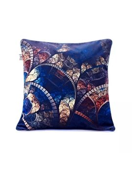 Luxury Royalblue Background and Golden Pattern Paint Throw Pillow Case