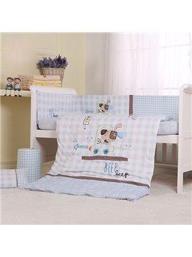 Light Blue Naughty Dog Print 7-Piece Cotton Baby Crib Bedding Set