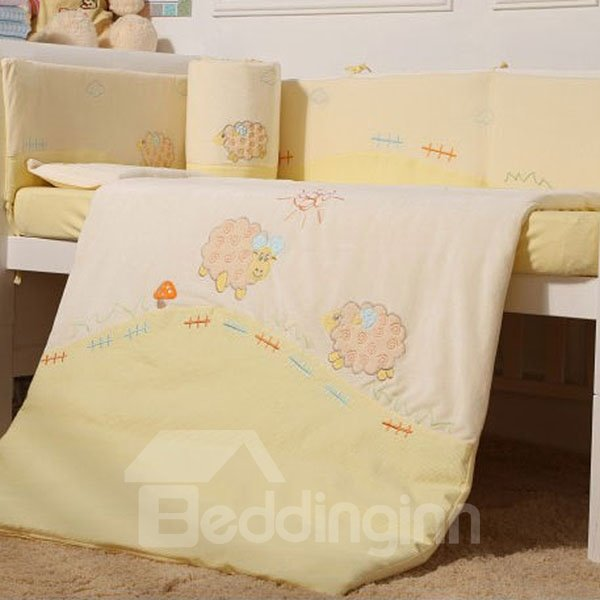 Super Lovely Sheep Farm Theme 7-Piece Cotton Baby Crib Bedding Set