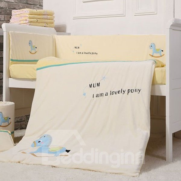 Lovely Pony Print 7-Piece Cotton Baby Crib Bedding Set